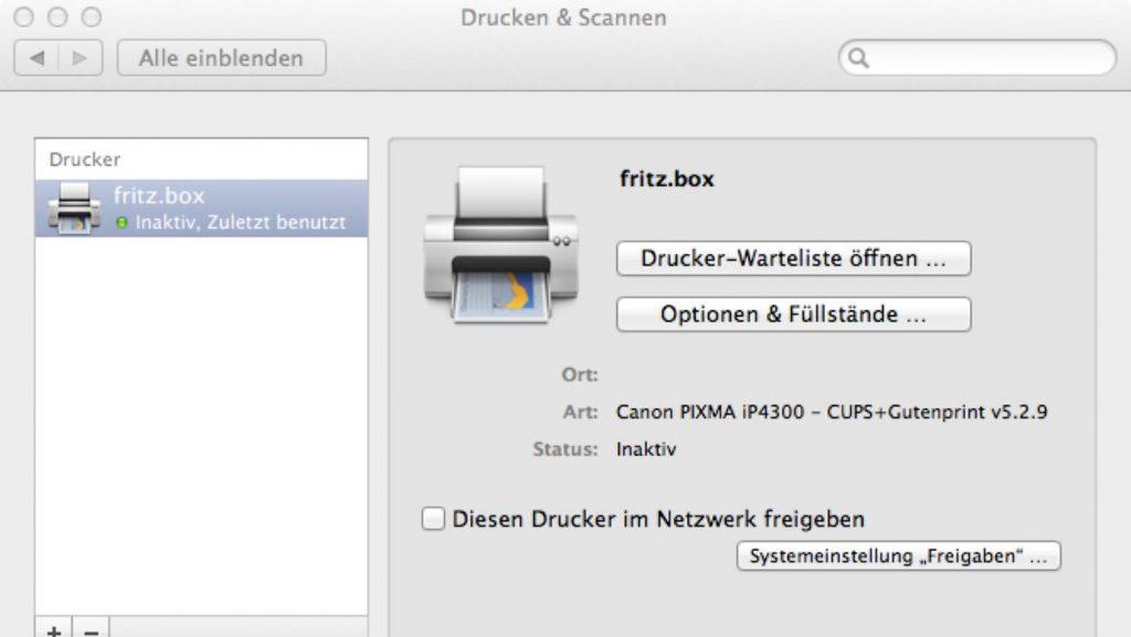 Fritzbox mit Drucker einrichten